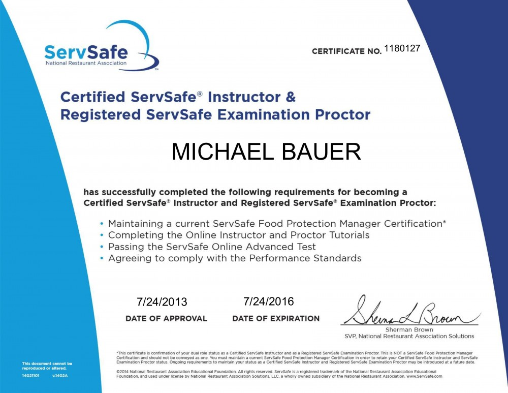 Certification Of Instructor And Proctor Mikes Food Safety Class